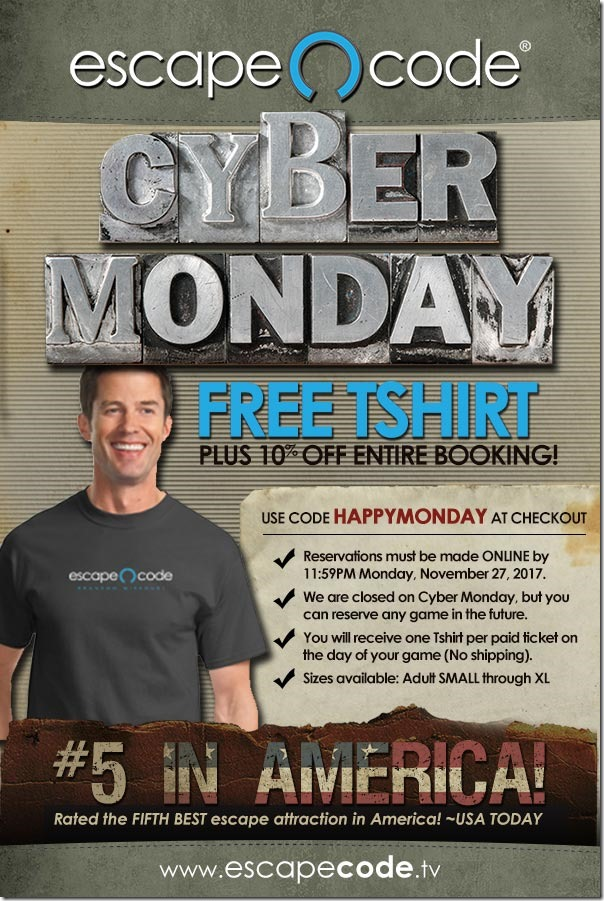 Get A Tshirt And 10 Off On Cyber Monday At Escape Code Escape Code Branson Usa Today 5 Best Escape Room In The Nation