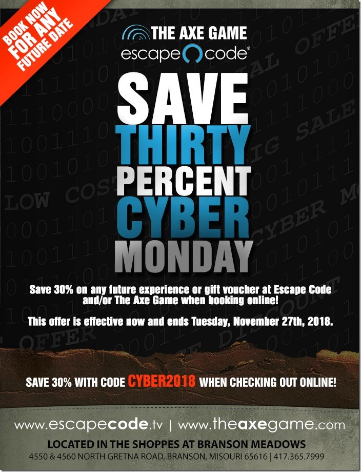 f5a30530e3dbc 30% off at Escape Code and The Axe Game! Cyber Monday starts NOW ...